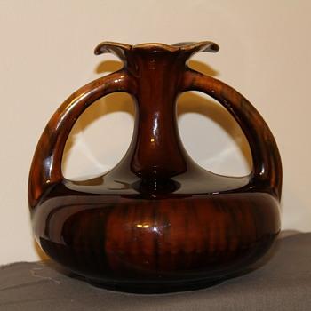 Manganese glazed 2 handled  vase  - Pottery
