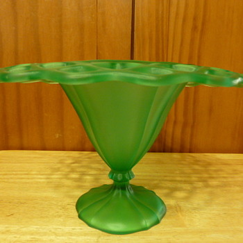 Tiffin Glass satin green pierced edge footed bowl - Art Glass