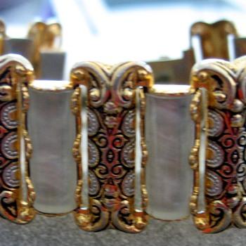 Fun Damascene and MOP Bracelet - Costume Jewelry