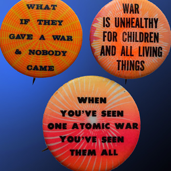 Unusually Psychedelic Vintage Anti Vietnam War era Pinback Buttons - Medals Pins and Badges