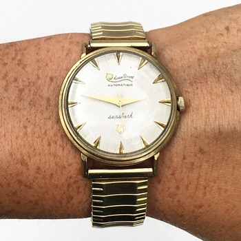 Vintage Lucien Piccard Seashark Wrist Watch Automatic 10k GF - Wristwatches