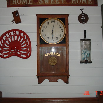 Tractor Seat...Oak Ingraham Regulator Clock...Visible Embossed Glass Mailbox...Garage Sale Finds