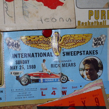1980 Indy 500 ticket stub - Sporting Goods