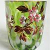 Signed Harrach Green Splatter Art Glass Tumbler& Finger Bowl Set with Hand Painted Floral Enameling