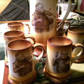 Antique Priest Pictcher and mugs - China and Dinnerware