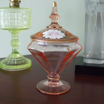 Pink Enamelled Panelled Covered CANDY DISH- Bohemian or N. American? - Glassware