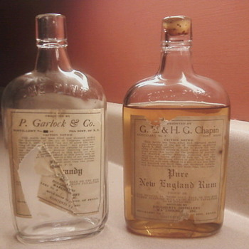 Pre-Prohibition Rum and empty Brandy bottle -Dougherty Distillery  - Bottles