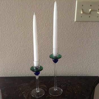 Couple candle stick holders - Art Glass