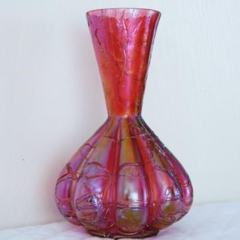 """Kralik Cranberry Crackle 9 Lobed Vase 6.5"""" - Art Glass"""