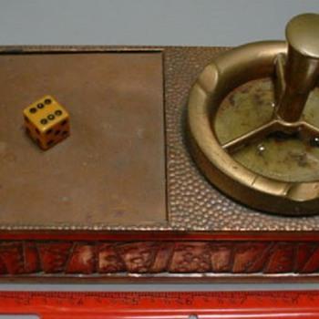 Gambling theme copper ashtray & cigarette box combo - Tobacciana