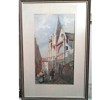 "German Cathedral Watercolor 11""x 17"" Matted and Framed / Unknown Artist / Circa 20th Century - Fine Art"