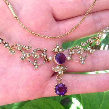 Victorian Gold Amethyst and Seed Pearl Necklace - Art Nouveau