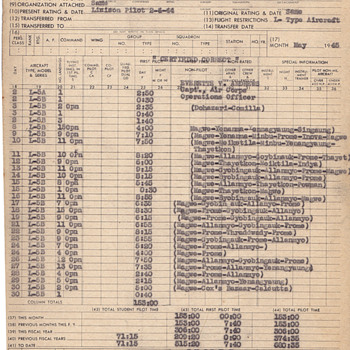 1 month flight record from my Dad Army Air Corps 2-04-1944 India - Military and Wartime
