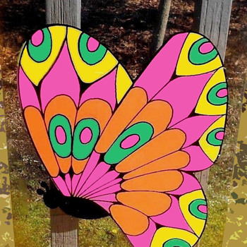 1960s Silkscreened Psychedelic Butterfly Art on a Transparent Acrylic - Fine Art