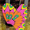 1960s Silkscreened Psychedelic Butterfly Art on a Transparent Acrylic