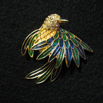 D'ORLAN - Enamel and Rhinestone hummingbird Brooch - Costume Jewelry