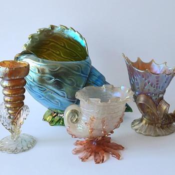 Loetz: vessels in the shape of sea snails. - Art Glass