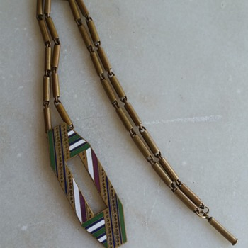 Art deco necklace, enamel on bronze  - Costume Jewelry