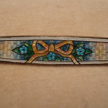 Guilloche Enamel Silver Bar Pin - Fine Jewelry