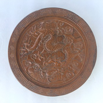 Antique carved wood Chinese disc with dragon