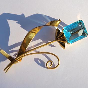 "Coro sterling vermeil brooch with blue ""gem"""