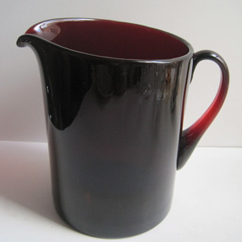 Unidentified Hand Blown Ruby Glass Tankard Pitcher - Art Glass