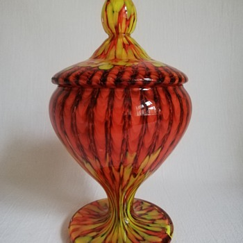 Welz Lidded Candy Jar - Art Glass