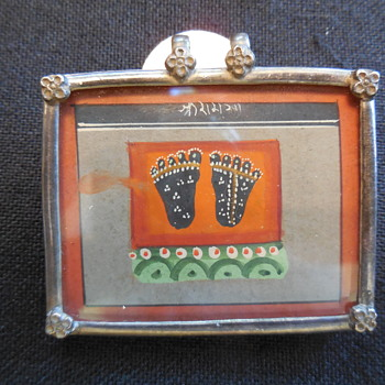 Antique Miniature Water Color Of Tribal Painted Feet In Metal Framed Pendant - Fine Jewelry