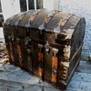 Dome Top Alligator Tin Antique Trunk