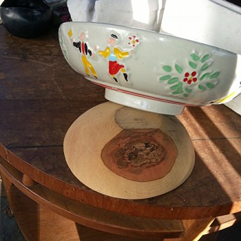 ? heavy USA pedestal bowl with embossed dancers