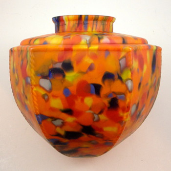 Czech glass lamp shade with paper label, ca. 1930s - Art Glass