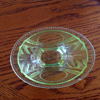 Green Depresion Glass Candy Dish - Glassware