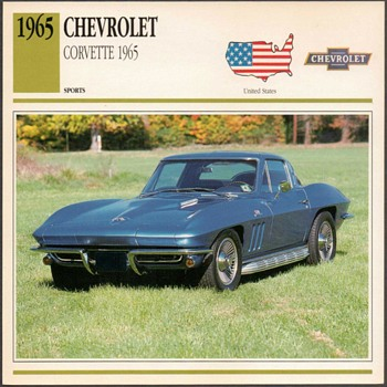 Vintage Car Card - 1965 Chevrolet Corvette - Cards