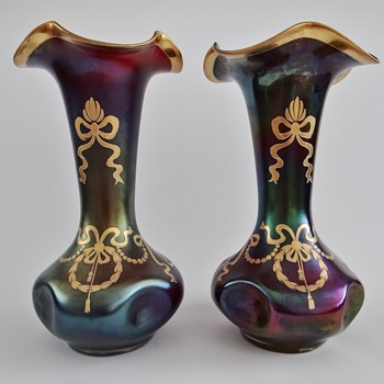 "Rindskopf - pair of vases ""Glatt Matt Iris"" - Art Glass"