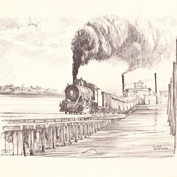 Railroad Ferry Pencil Drawing