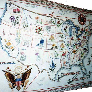 Map of the United States embroideries,1940 - Rugs and Textiles