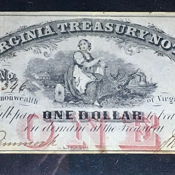 1862 Virgina Treasury Note  - US Paper Money