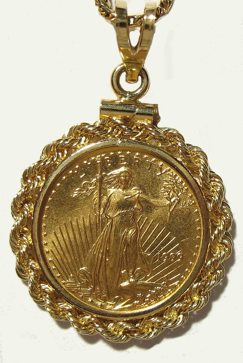 St Gaudens 1 10th Oz Gold Coin Bezel Amp Chain Collectors Weekly