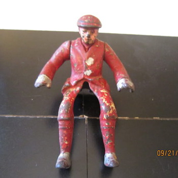 1920's Hubley Motorcycle Rider Pressed Steel Cast Iron Man - Motorcycles