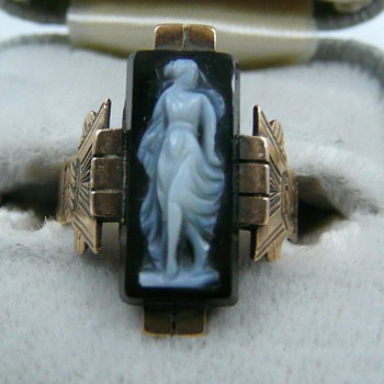 10k Rose Gold Black Agate Cameo Art Deco Paid $8 - Fine Jewelry