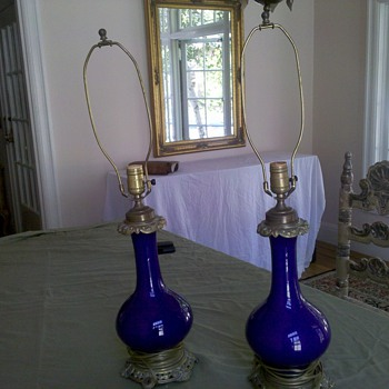 French Antique Cobalt Blue and Brass Table Lamps - Lamps