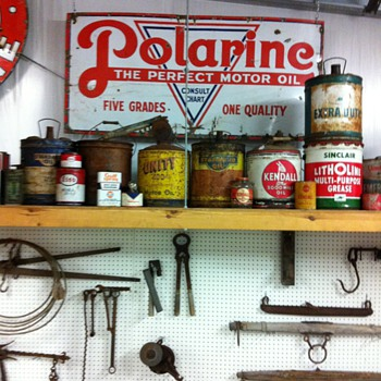 Polarine sign 1923, Phillips sign 1956,Dupont top sealer from 1930's,Lincoln auto dusting cloth 1940's - Petroliana