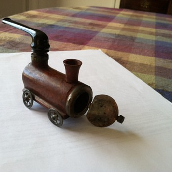 Hand carved train tobacco pipe