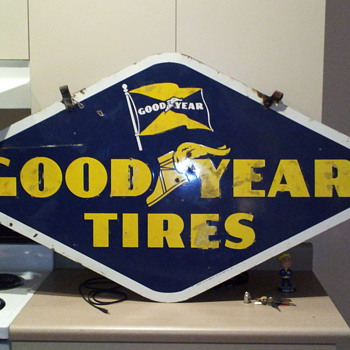 double sided good year procelin sign - Signs