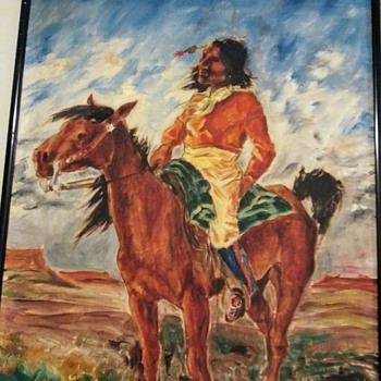 OLI PAINTING OF A BRAVE ON HORSEBACK - Fine Art