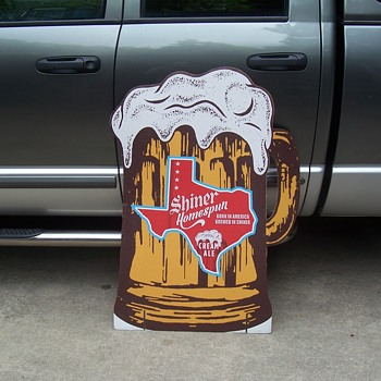 Shiner Beer heavy cardboard 2 sided display sign - Breweriana