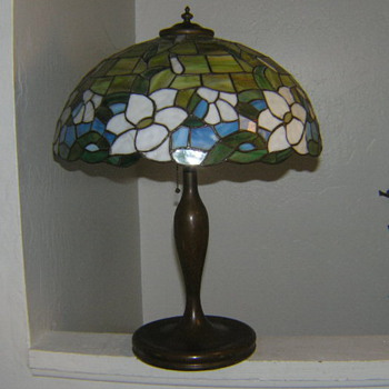 Old bronze lamp with mosaic shade Handel? - Lamps