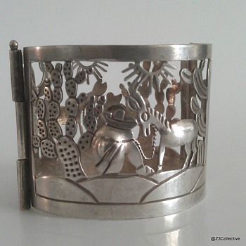 Vintage Signed Rafael Melendez 980 Sterling Silver 1940's Taxco Mexico Bracelet