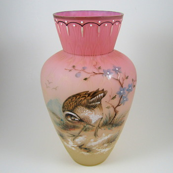 Bohemian Pink and Vaseline (uranium) Woodcock Enameled Vase