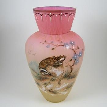 Bohemian Pink and Vaseline (uranium) Woodcock Enameled Vase - Art Glass